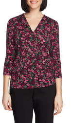 Chaus Floral Print Knit Faux Wrap Top