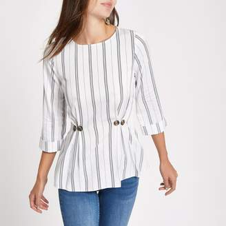 River Island Womens White stripe button waist loose fit top