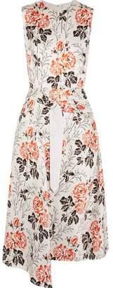 Victoria Beckham Asymmetric Belted Floral-Print Crepon Dress