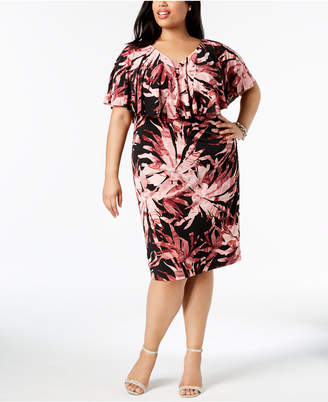Connected Plus Size Ruffled Sheath Dress