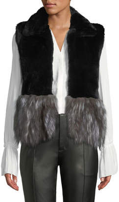 Adrienne Landau Short Fur Vest w/ Contrast Fur Hem