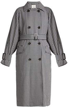 Tibi - Gingham Oversized Trench Coat - Womens - Black White