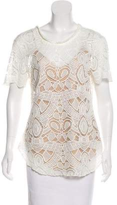L'Agence Lace Short Sleeve Top