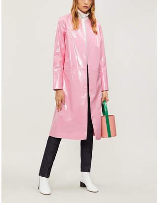 STAUD Liam faux patent-leather coat