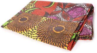 チャイハネ 【 】アフリカン・キテンゲ柄パッチワークベッドカバー シングルサイズ レッド