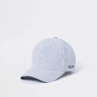 River Island Mens Blue striped baseball cap