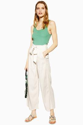 Topshop Casual Tie Waist Wide Leg Trousers