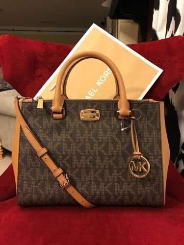 Michael Kors Kellen Medium Satchel Crossbody Bag (Brown pvc) - BROWCORN - STYLE