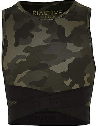 River Island Girls RI Active khaki camo elastic crop top