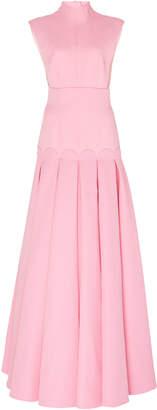Emilia Wickstead Kingsley Cap-Sleeve Crepe Gown