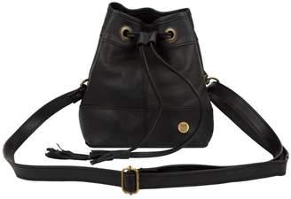 Mahi Leather Mini Bucket Drawstring Bag In Ebony Black Leather