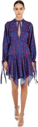 Self-Portrait Printed Satin Midi Dress
