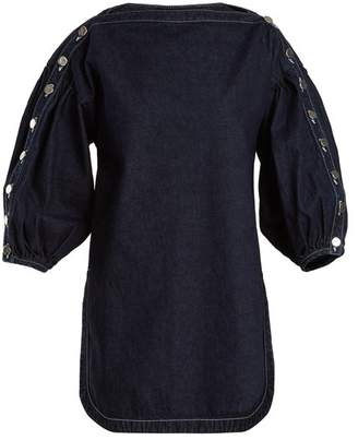 Rachel Comey Billow Slash Neck Denim Top - Womens - Indigo