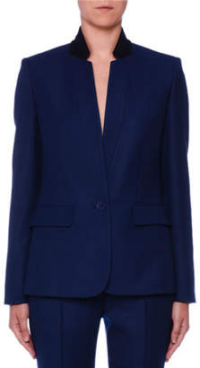 Stella McCartney One-Button Stand-Collar Open-Weave Wool Jacket