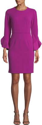 Donna Morgan Ruffle-Sleeve Crepe Sheath Dress