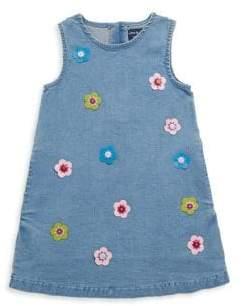 Andy & Evan Little Girl's Floral Appliqué Denim Dress