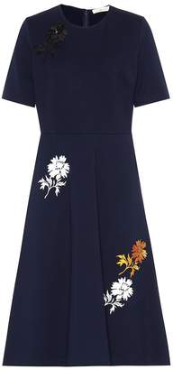 Tory Burch Embroidered jersey midi dress