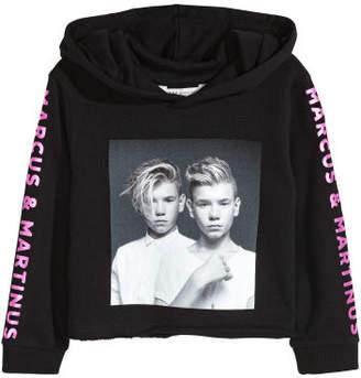 H&M Short Printed Hooded Top - Black