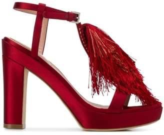 Alberta Ferretti fringed front detail sandals