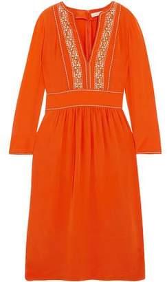 Vanessa Bruno Embroidered Silk Crepe De Chine Dress