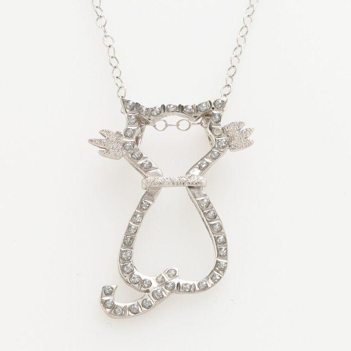 Diamond MystiqueTM Platinum Over Silver Diamond Accent Cat Pendant
