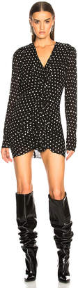 Saint Laurent Polka Dot Ruffle Front Dress