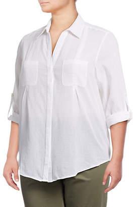 Lord & Taylor Plus Plus Nancy Cotton Button-Down Shirt