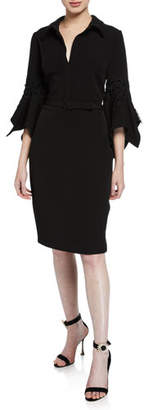 Badgley Mischka Hanky Bell-Sleeve Shirt Cocktail Dress w/ Lace Trim