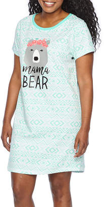 Asstd National Brand Mommy & Me Womens Jersey Nightshirt Short Sleeve Round Neck Mommy and Me