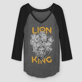 The Lion King Women's The Lion King Cast Photo 3/4 Sleeve Raglan T-Shirt (Juniors') - Charcoal Heather Black