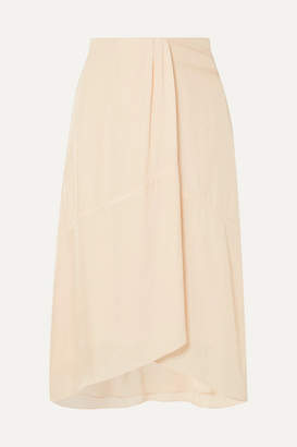 Vince Asymmetric Crepe Midi Skirt - Cream
