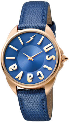 Just Cavalli 34mm Logo Stainless Steel Watch w/ Leather Strap, Rose Golden/Blue