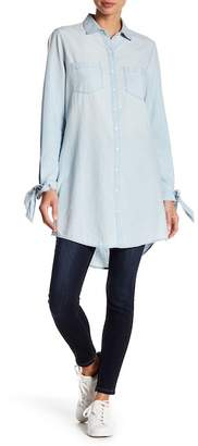 Susina Chambray Tie Sleeve Button Front Tunic (Regular & Petite)