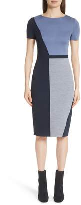 St. John Slanted Colorblock Milano Knit Sheath Dress