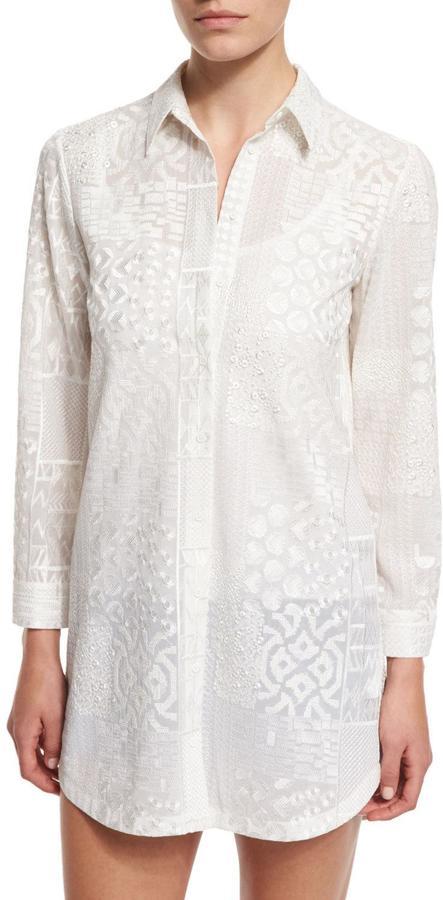 Alice + OliviaAlice + Olivia Tanisha Embroidered Button-Front Tunic, White