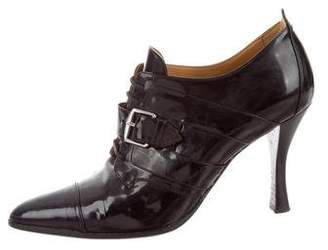 Hermes Patent Leather Lace-Up Booties