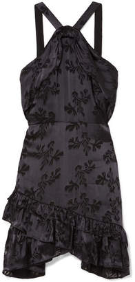 Saloni Faye Ruffled Satin-jacquard Mini Dress