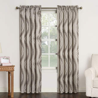 Sun Zero Sun ZeroTM Emory Printed Wave Room-Darkening Rod-Pocket Curtain Panel