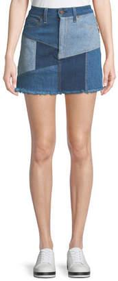 Alice + Olivia AO.LA by Alice+Olivia Patchwork Denim Mini Skirt