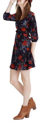 Madewell Windblown Poppies Long Sleeve Ruffle Waist Silk Dress