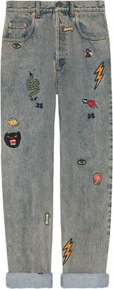 Gucci 80s fit denim pant with symbols