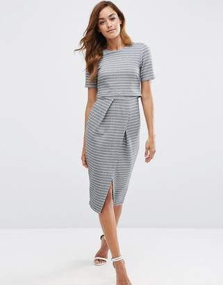 ASOS Double Layer Wiggle Dress in Stripe $68 thestylecure.com