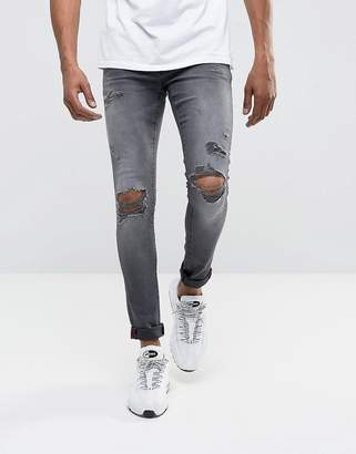 DML Jeans Super Skinny Spray On Jeans with Busted Ripped Knees in Gray