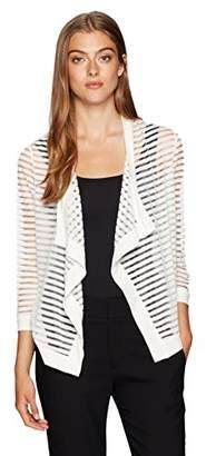 Jones New York Women's Shadow Stripe 3/4 SLV Drape FRNT Cardi