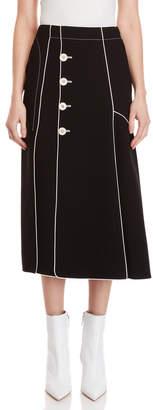 Derek Lam Black Piped Button Midi Skirt