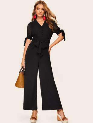 03e9d5afdf4 Shein Knotted Sleeve Half Placket Palazzo Jumpsuit With Belt