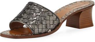 Bottega Veneta Intrecciato Metallic Leather 40mm Slide Sandals