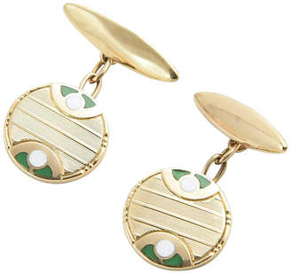 One Kings Lane Vintage Deco Green & White Enamel Gold Cufflinks - Owl's Roost Antiques