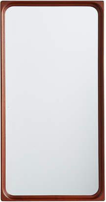 Rejuvenation Tall Modern Teak Mirror w/ Coved Corners