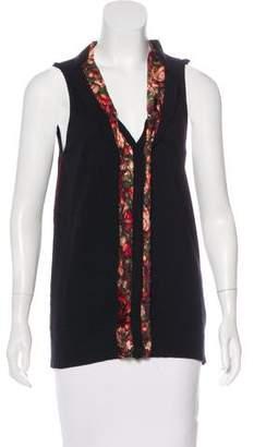 Just Cavalli Silk-Trimmed Knit Top